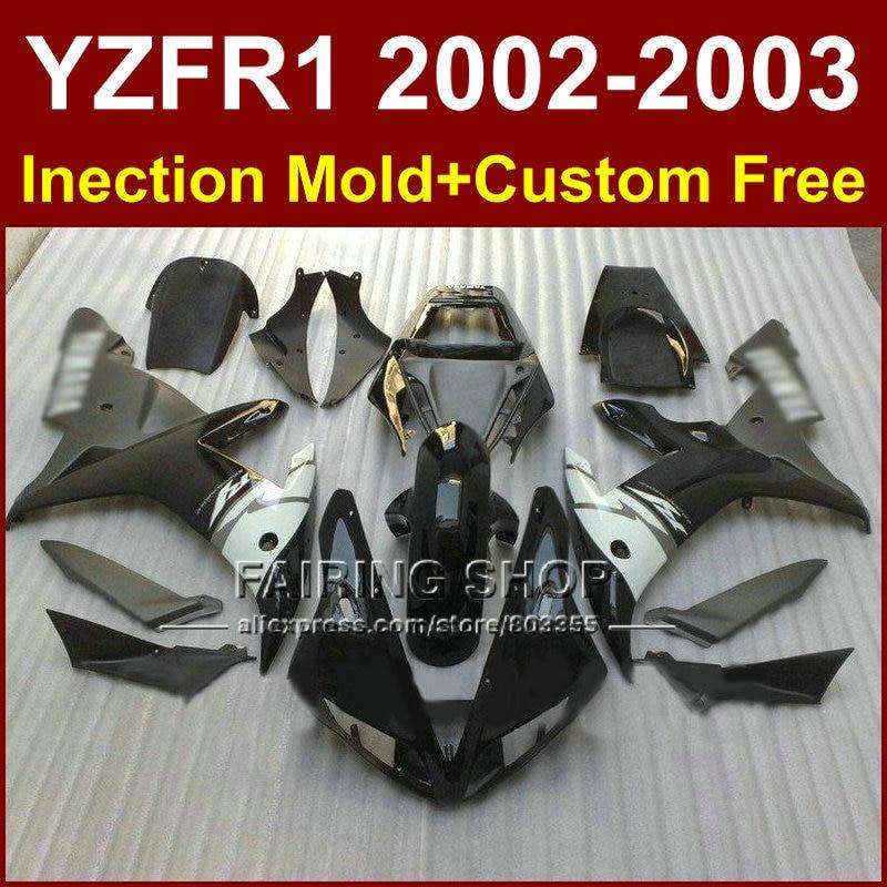 Hot sale custom fairing for YAMAHA black bodywork YZF1000 02 03 YZF R1 2002 2003 yzf r1 body parts Aftermarket +7gifts запчасти для мотоциклов yamaha yzf1000 02 03 r1