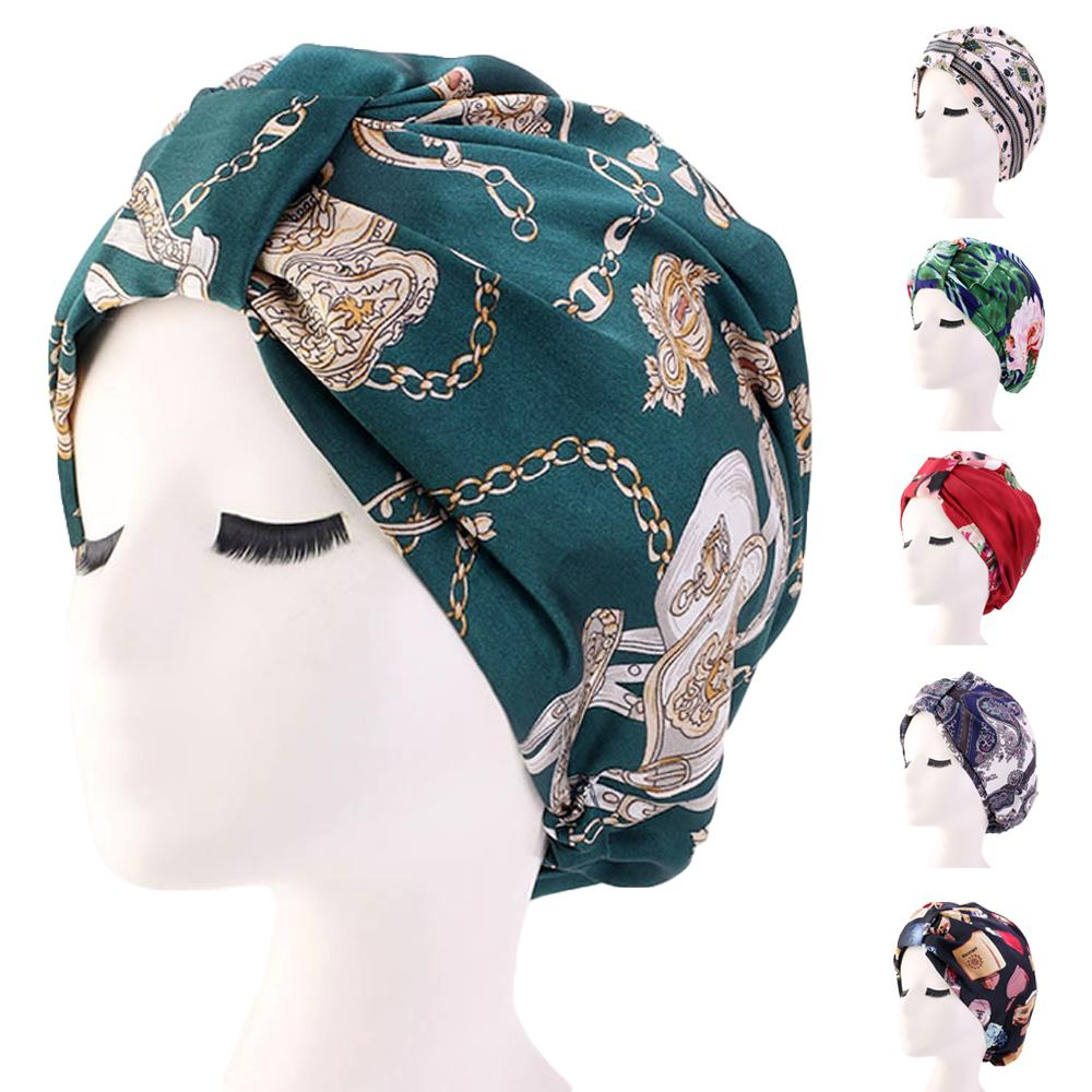 Printed Satin Night Sleep Caps Women Hair Care Bonnet Turban Elastic Band Hats Hair Loss Chemo Cancer Hat Pleated   Beanies   Cap