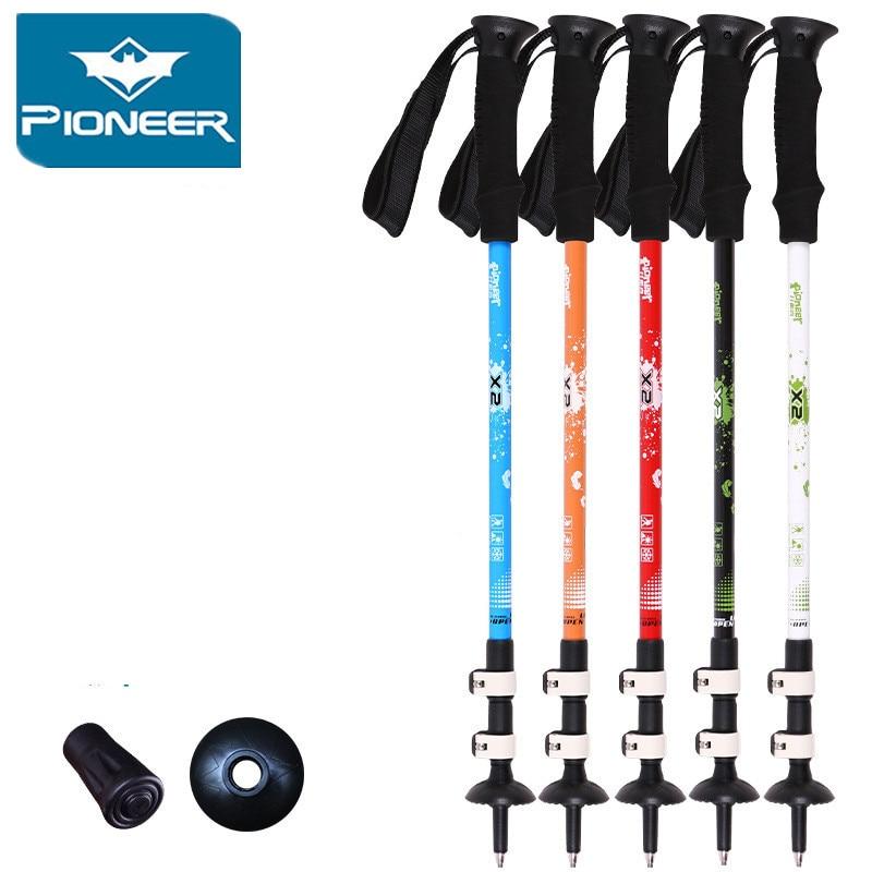Ultra-dritë poli Ski Trekking Duke ecur Shkop i rregullueshëm Teleskopik Hiking Alpenstock Karboni Fibër Ngjitje kallam Ski