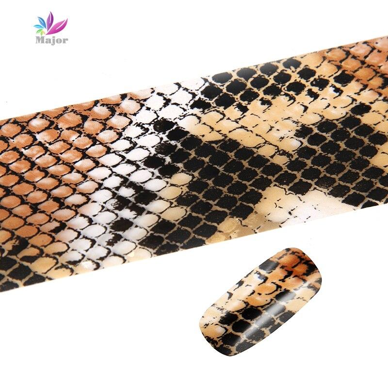 100*4CM Nail Foils Classic Snake Skin Pattern Nail Art Transfer Foils Laser Stickers Adhesive Nail Polish Accessories