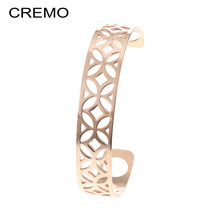 Cremo Rhombus Cuffs Bangles For Women Stainless Steel Bracelets Bijoux Femme Arm Hand Geometry Bangle Reversible Leather Stripe(China)