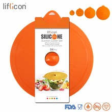 Liflicon 4pcs Silicone Suction Lids Glass Lid Spill Stopper Cover for Pot Pan, Bowls, Cups Airtight Seal Set Microwave/Oven Safe