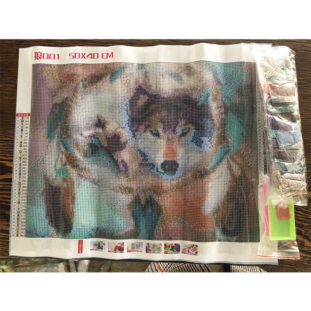 DIY 5D dimond painting wolf Animals full round diamond embroidery sale wolf by rhinestoners Diamond Mosaic  Christmas Gift