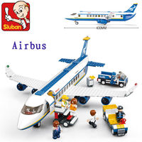 Sluban Trainer Aircraft Airbus Aircraft Viation Air Transport Plane 3D Construction Eductional Bricks Building Blocks Sets