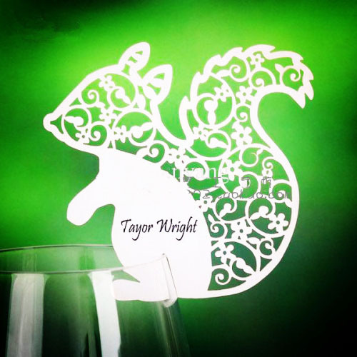 Squirrel design laser cut place cards for wine glass for Design table name cards