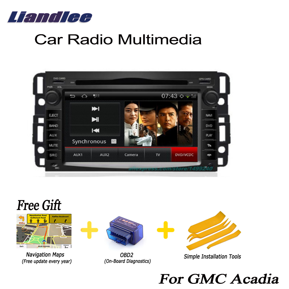 Liandlee pour GMC Acadia 2006 ~ 2011 2din voiture Android GPS Android navigation navi cartes CD DVD palyer radio HD écran OBD2 TV