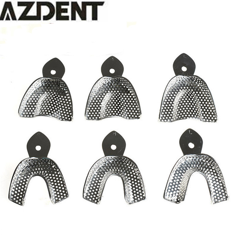 6pcs/Set Dental Impression Stainless Steel Autoclavable Denture Instrument Teeth Tray Oral Hygiene Tooth Tray Dental Lab Tools demarkt потолочная люстра de markt city тетро 673012603
