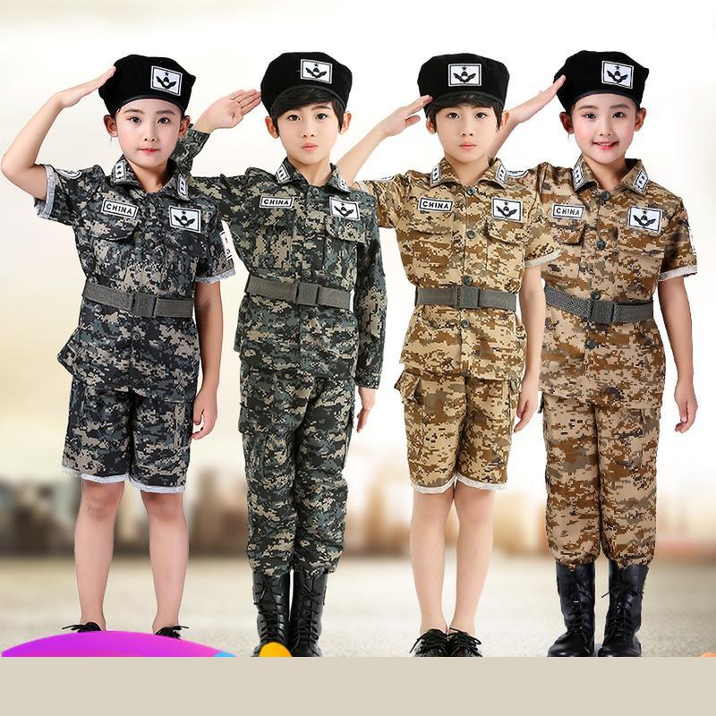 Военная тренировочная форма для мальчиков и девочек, детские боевые тактические камуфляжные летние костюмы для вечеринки в лагере, Детские
