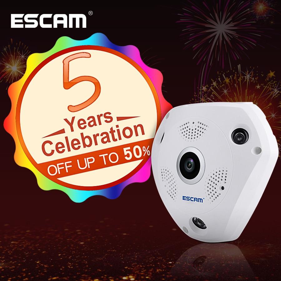 ESCAM Requin QP180 HD 960 p 1.3MP 360 degrés fisheye panoramique PTZ caméra infrarouge caméra VR soutenez VR boîte et carte micro SD