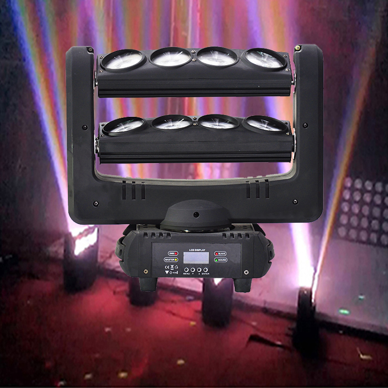RGBW 4IN1 Led Spider Lights 8x12W Spider Moving Head Beam Light Colorful DMX LED DJ Disco Nightclub Party Stage Lighting