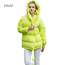 2017 new winter parkas women loose fit 90% duck down coat medium-long thickness hooded jacket warm snow pink overcoat