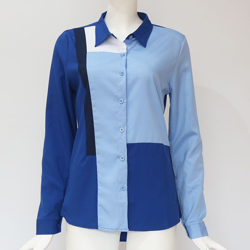 Women Blouses Fashion Long Sleeve Turn Down Collar Office Shirt Leisure Blouse Shirt Casual Tops 5