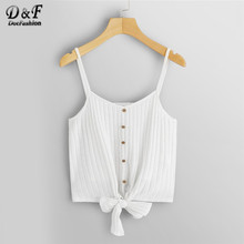 c723e2765 Dotfashion White Solid Knot Hem Rib Knit Cami Top Women Clothes 2019 Summer  Casual Streetwear Vest Glamorous Korean Camisole
