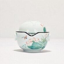 Celadon Handpainted Portable Teapots Ceramic Kung Fu Tea Set 1 Pot Cups Hand Made Travel Gaiwan Chinese Service