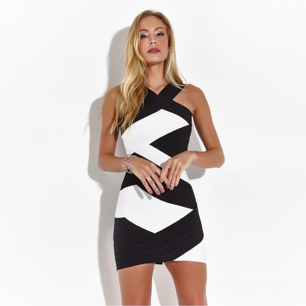 Nouveau Style licou Bandage extensible Jacquard robe d'été Pub partie dos nu Sexy femmes célébrité corps con Mini robes en gros