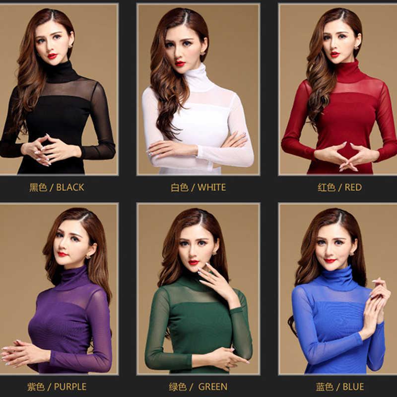 レディースブラウスシャツ黒、白の下にセクシーなロングカジュアル長袖レース Blusas 弾性トップスとブラウス女性新