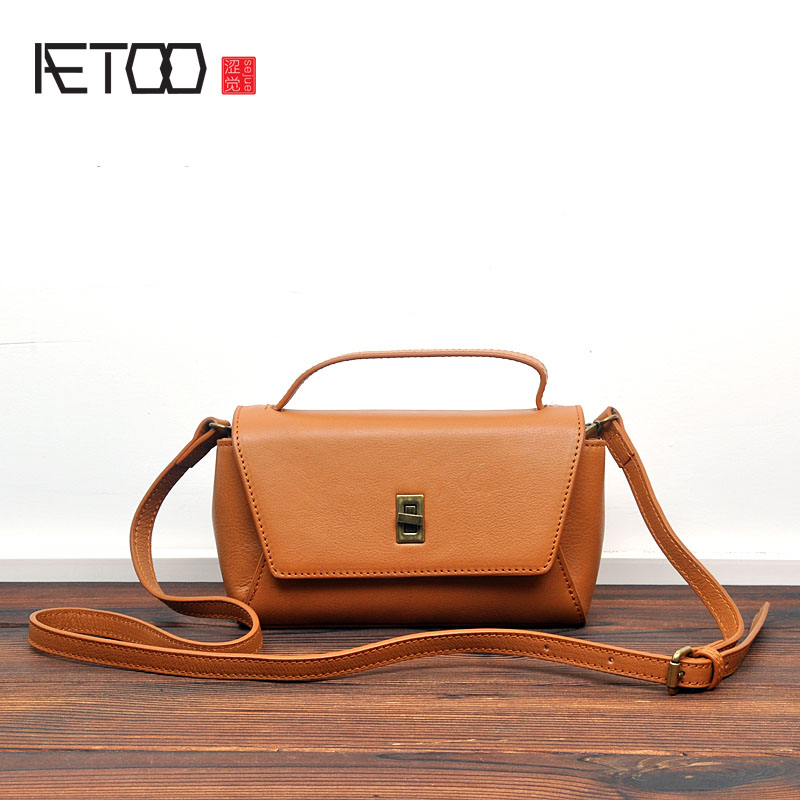 AETOO Japan and South Korea version of the original first layer of leather clamshell multi-storey square bag personality wild la