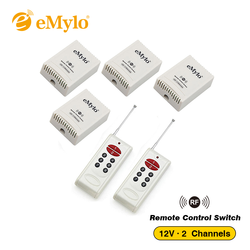 eMylo DC 12V Smart Momentary Switch, Wireless RF Remote Control Light Led Switch 433Mhz White 2 Transmitter 4X 2-Channels Relays