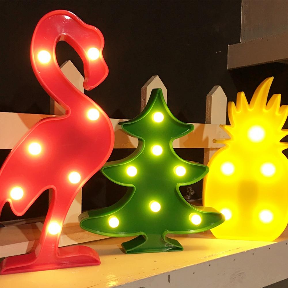 Noel dekor 3D LED Gece Lambası ağacı Flamingo Kaktüs Melek - Gece Lambası - Fotoğraf 5