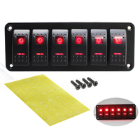 6 Rocker Switch Panel with Red LED Light Circuit Breaker for Boat/car high quality waterproof ABS&PC&Aluminum 12V 24V Black
