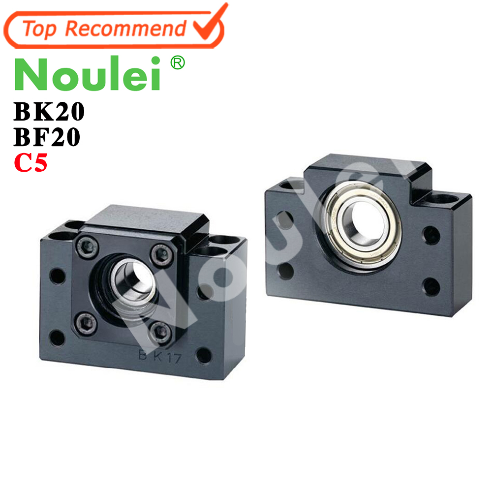 Noulei Ballscrew Support BK20 BF20 C5 Linear Guide Screw Ball Screws End Supports CNC bk17 fixed end ballscrew support slide linear ball screw