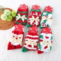 6PC Butterfly Warm Coral Velvet Socks Half Socks Christmas Socks Thickening Red Towels Socks