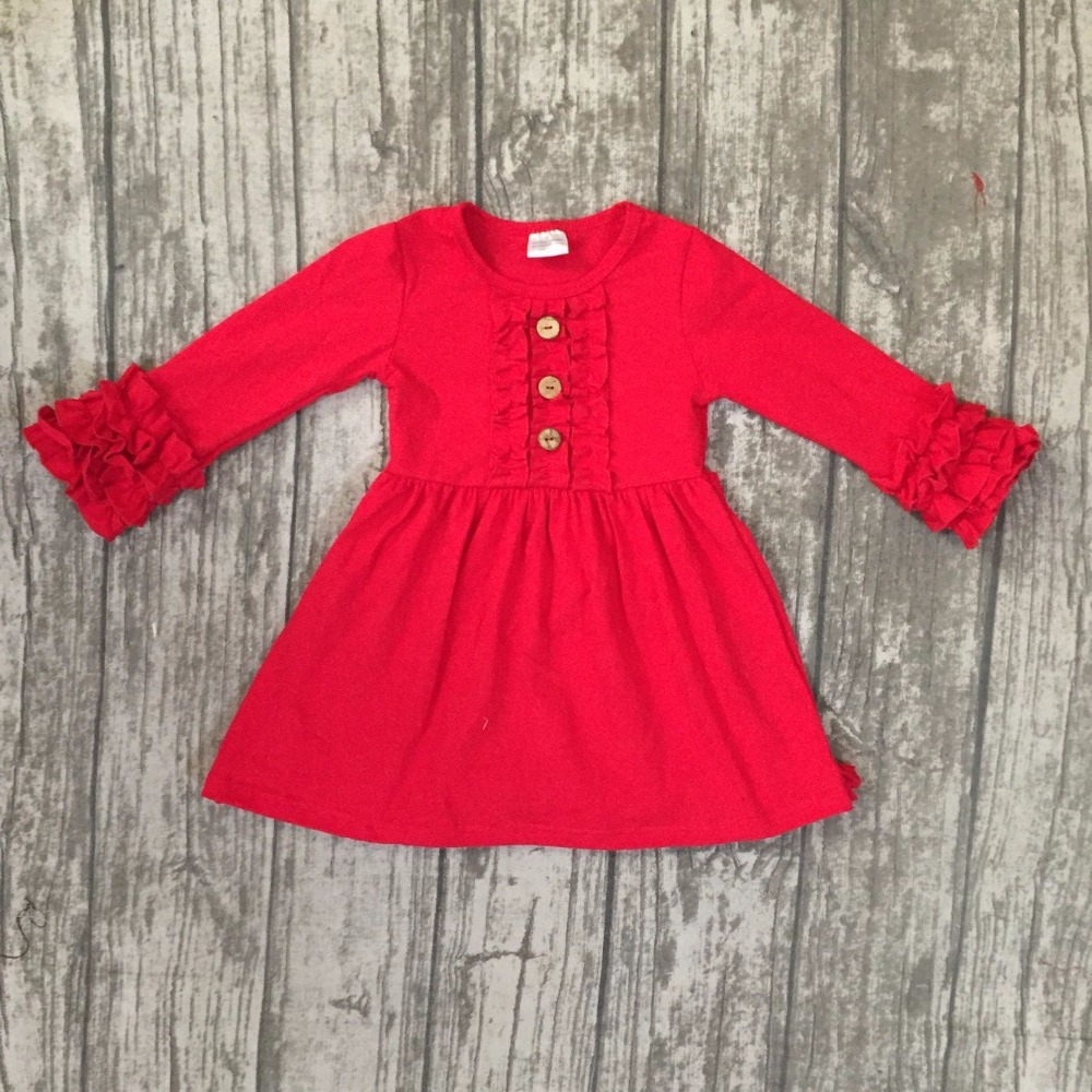 Fall/winter baby girls children clothes cotton long sleeve dress multy solid color ruffle Mustard oliver green boutique outfits layered pleated ruffle sleeve solid top