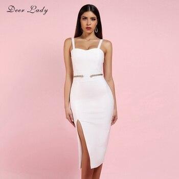 Deer Lady Bandage Dress Winter 2019 New Arrivals White Strap V Neck Spaghetti Bodycon Midi Wom