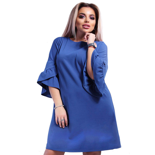 2018 New Women Party Clothing Spring Summer Dresses Fashion Ladies Flare  Sleeves Plus Size Loose Knee a74721b9dd65