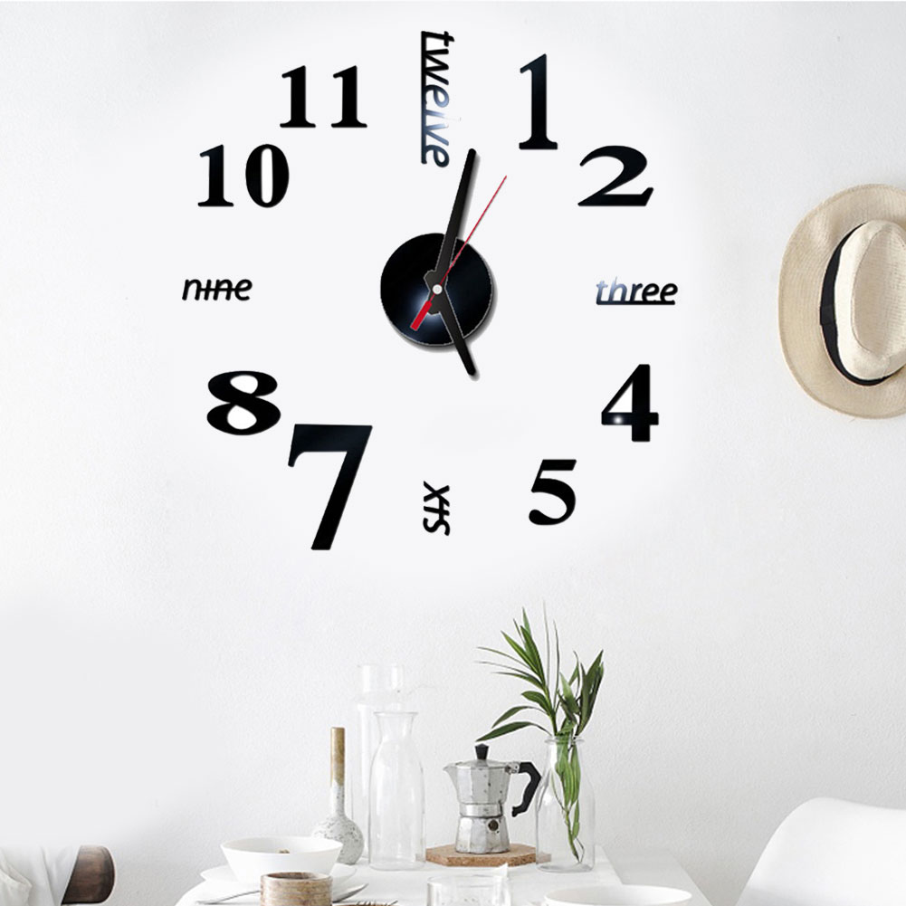 Modern Design Rushed Quartz Clocks Fashion Watches Mirror Sticker Diy Living Room Decor New Arrival 3d Real Big Wall Clock ~
