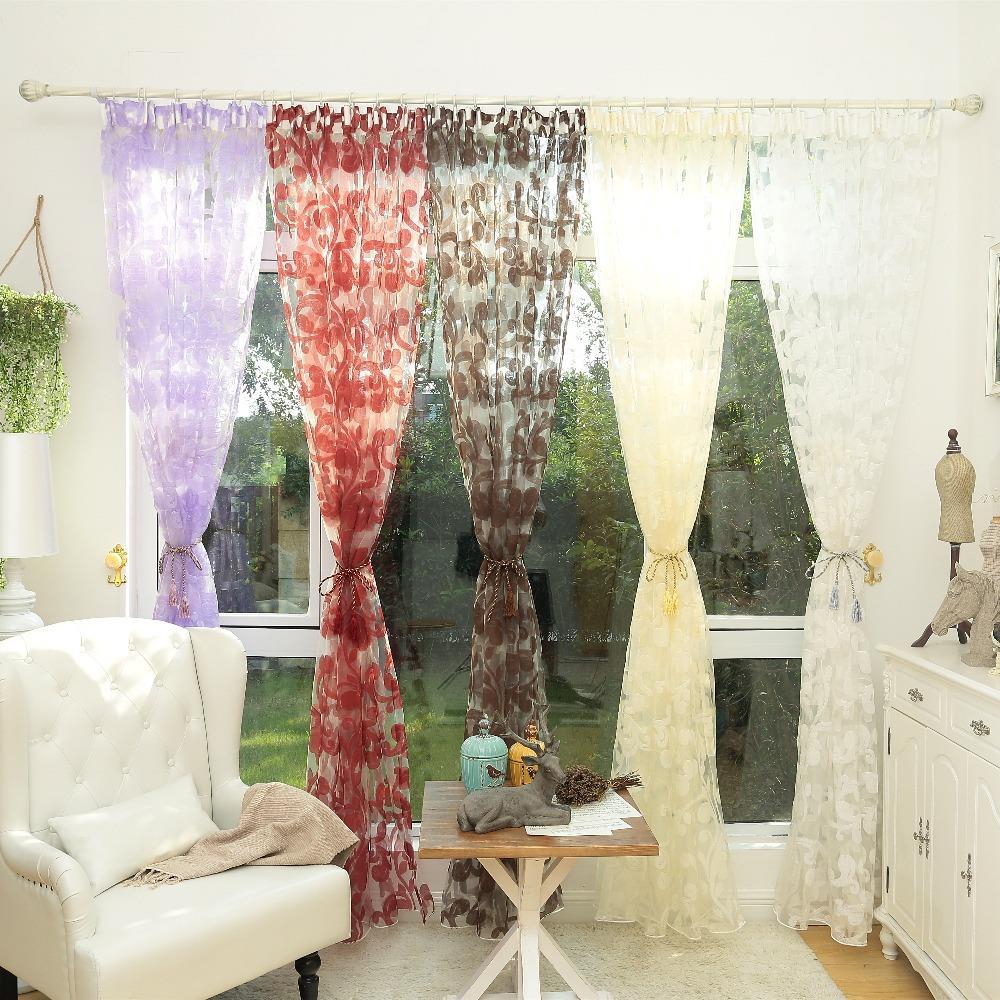 diseo de la hoja rstico cortina blanca de tul pura telas cortinas para el dormitorio cortinas