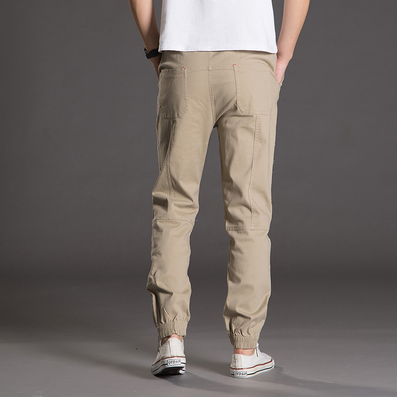 Mens 100%Cotton Casual Pants Good Quality Solid Spliced Cargo Pants New Fashion Male Ful ...