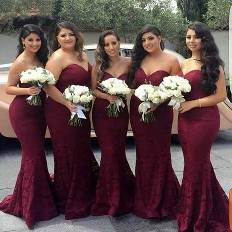 New Arrival Sweetheart Mermaid Lace Bridesmai Dresses Burgundy Court Train Lace Up Back Trumpet Bridesmaid Gown Cheap Dresses
