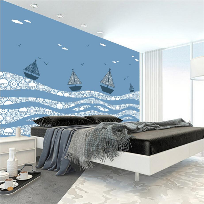 Custom Photo Wallpaper For Kids Hand Painted Maritime Sailboat 3d Wallpaper Walls Embossed Non-Woven TV Background Wall Mural 3d wallpaper custom mural non woven 3d room wallpaper tv setting wall crane brick wall murals photo wallpaper for walls 3 d