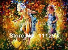 2016 Home Decor Hot Sale Romantic Night Kids Funny Classical Knife Oil Painting 100% Hand Painted Wall Art Picture free Shipping