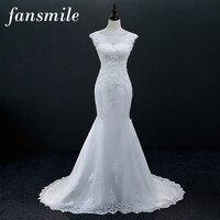Fansmile Chegada Nova Vintage Lace Up Sereia Vestidos de Casamento 2017 Plus Size Vestidos de Casamento Personalizado Vestido De Noiva Frete Grátis