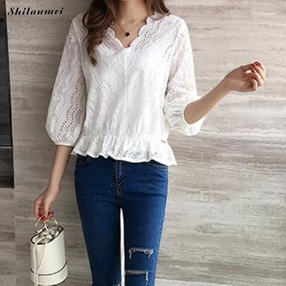 1c2a3712d249 White Eyelet Ruffle Pem Blouse 2018 Casual V Neck Three Quarter Sleeve  Ladies Tops Women Beach Slim Blouses Blusas Haunt Femme-in Blouses   Shirts  from ...