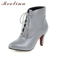 Shoes Women High Heel Boots Fall Winter Pointed Toe Lace Up Ankle Boots Dress Ladies Boots