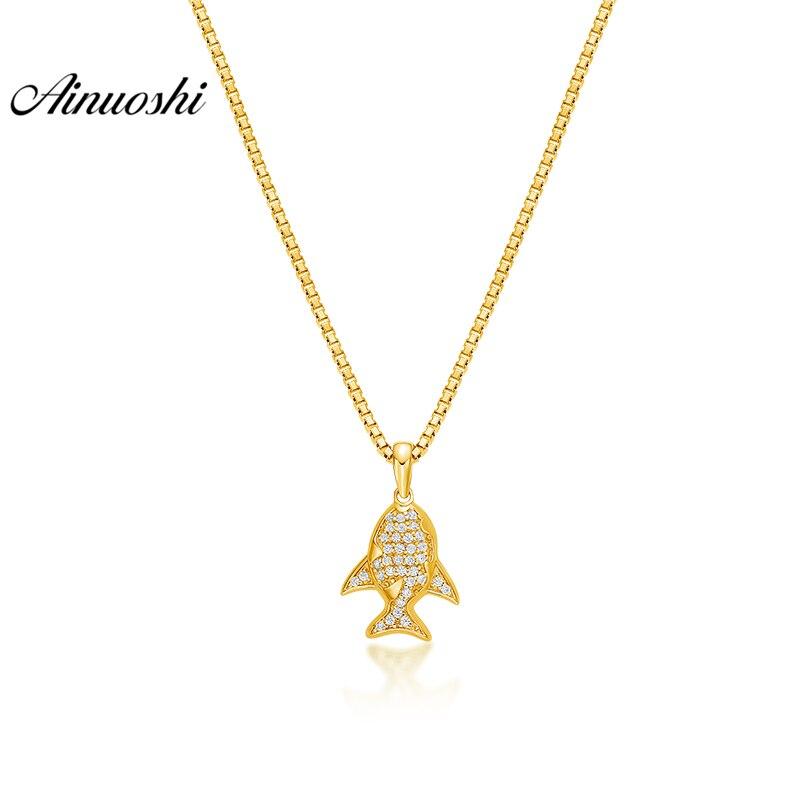 купить AINUOSHI 10K Solid Yellow Gold Pendant Shining Fish Pendant SONA Diamond Women Men Child Jewelry Marine Animal Separate Pendant недорого