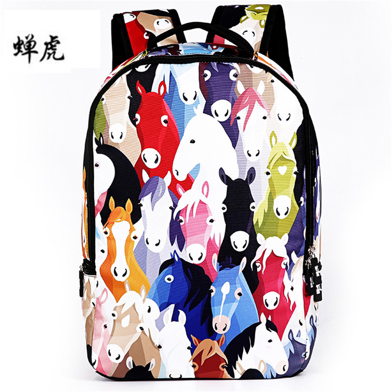 New Cute Horse Printed Canvas Women Backpack Female School Bags For Girls Backpacks Casual Bag Laptop Backpacks Mochila new brand 2015 women girls school bag rivets camouflage backpack cute canvas