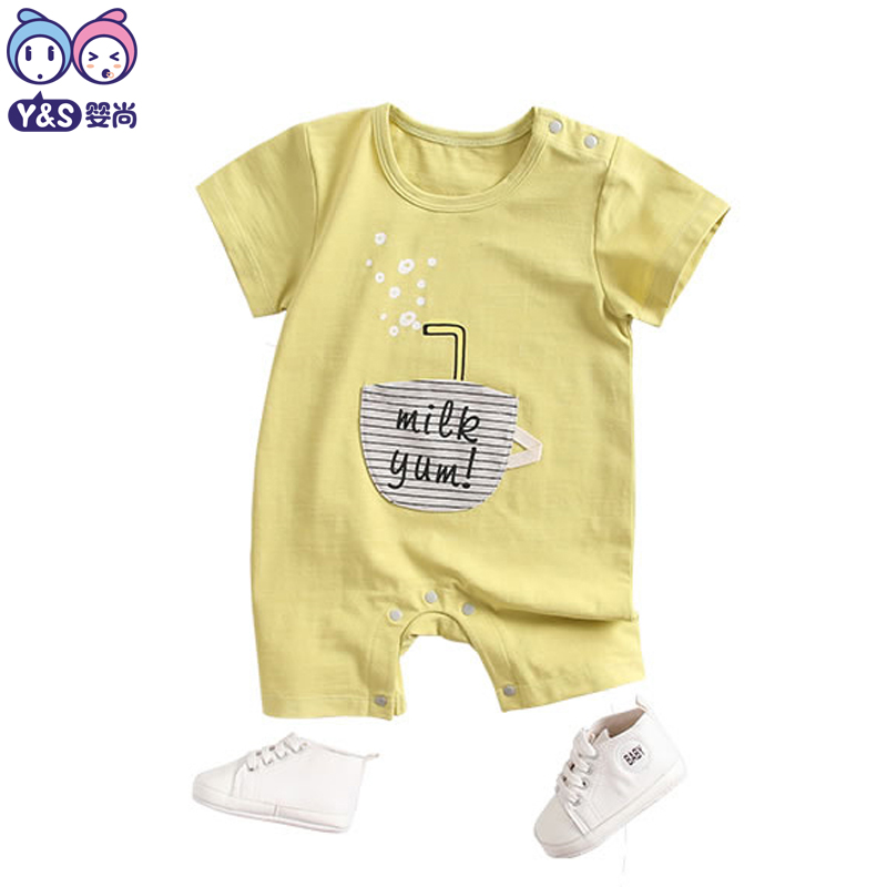 bc46d788e27d Y S Baby Boy Summer Rompers 2018 Infant Clothing Solid Cute Cotton Yellow  Khaki Onesie Newborn Toddle Short sleeved Clothes-in Rompers from Mother    Kids on ...