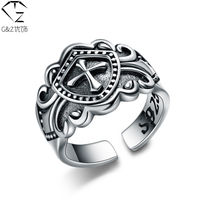 S925 Solid Thai Silver Open Size Ring 100 Pure 925 Sterling Silver Cross Rings For Men