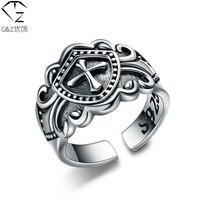 S925 sólida de prata tailandesa aberto tamanho do anel 100% pura 925 Silver Cross anéis para homens jóias WR08
