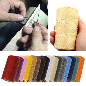 Cuerda de hilo de cera encerada de 260 metros 79.2ft 1mm para manualidades de costura de cuero DIY cincel de costura de mano punzón tapicería zapatos equipaje