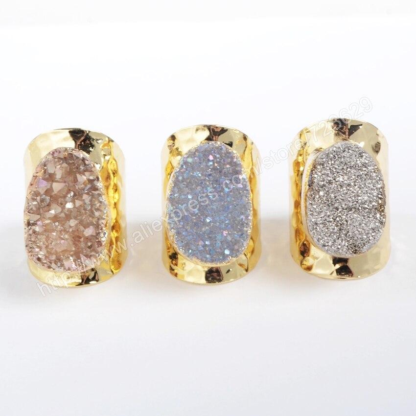 BOROSA 5 teile / los Gold Farbe Oval Natürlichen Kristall Druzy - Modeschmuck - Foto 1