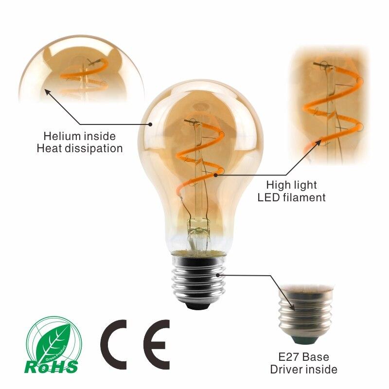 Dimmable Retro LED Spiral Filament Light Bulb 4W 2200K 220V-240V C35 A60 T45 ST64 T185 T225 G80 G95 G125 Vintage Edison LED Lamp Pakistan