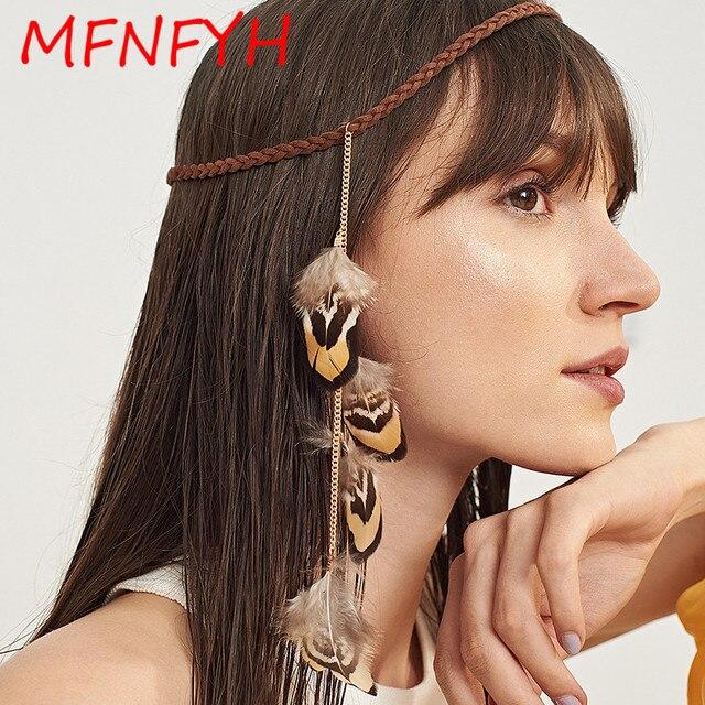 MFNFYH Bohemian Gypsy Festival Feather Head Chain Jewelry Summer ...