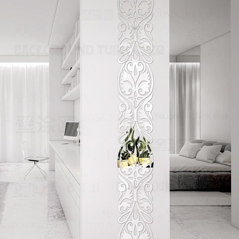 Vintage Luxury Waist Line Acrylic Mirror Wall Stickers Living Room Bedroom Decor Door Decoration Home Stickers
