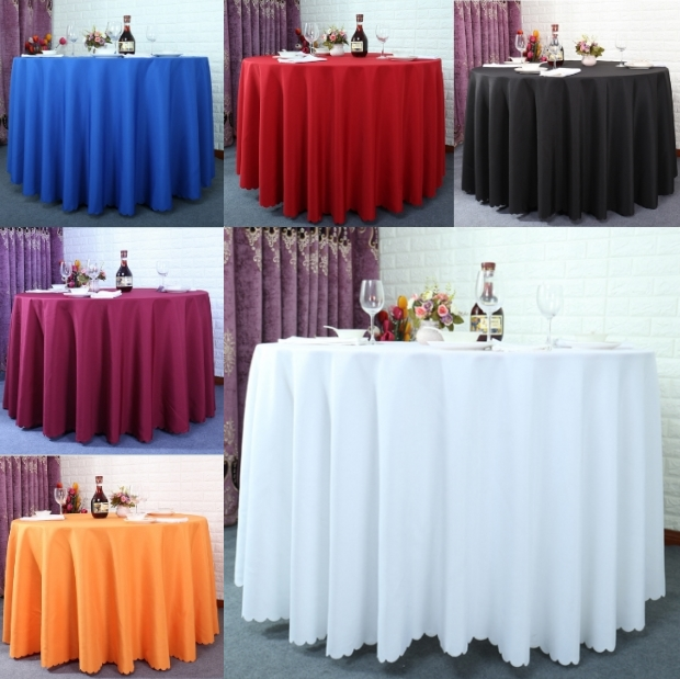 New 2017 High Quality Polyester Solid Color Table Cloth Elegant Design Home  Hotel Wedding Round Tablecloth