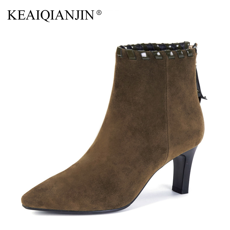 LOVEXSS Woman High Heel Ankle Boots Sheepskin Plus Size 33 - 43 Pointed Toe Boots Black Green Autumn Winter Genuine leather Boot